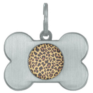 Leopard Print Animal Skin Patterns Pet Name Tag