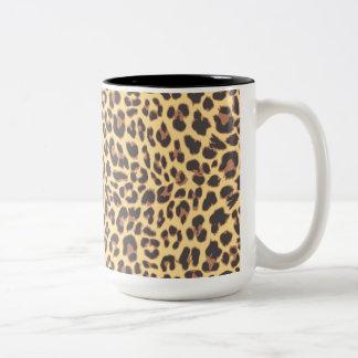 Leopard Print Animal Skin Patterns Two-Tone Coffee Mug