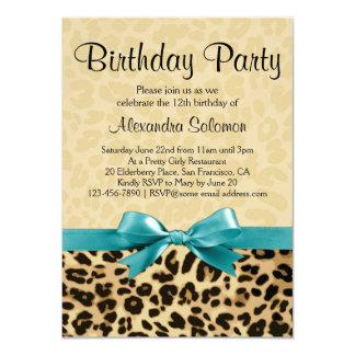 "Leopard Print Aqua Blue Bow Girl Birthday Party 4.5"" X 6.25"" Invitation Card"