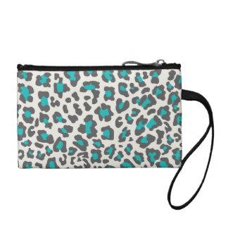 Leopard Print Aqua, Gray, White Change Purse