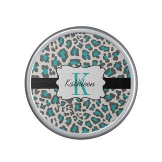 Leopard Print Aqua Gray White Bumpster Speaker