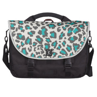 Leopard Print Aqua, Gray, White Commuter Bag
