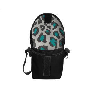 Leopard Print Aqua, Gray, White Courier Bags