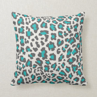 Leopard Print Aqua, Gray, White Pillow