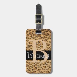 Leopard Print B monogram initials Luggage Tag