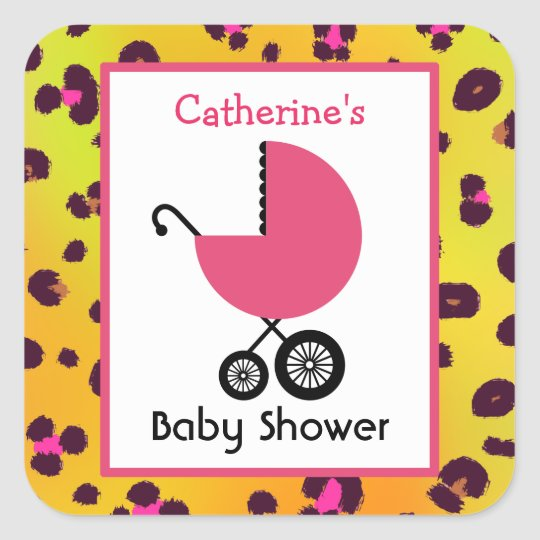 Leopard Print Baby Shower & Pink Carriage Square Sticker