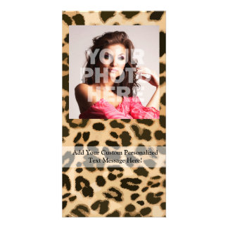 Leopard Print Background Personalized Photo Card