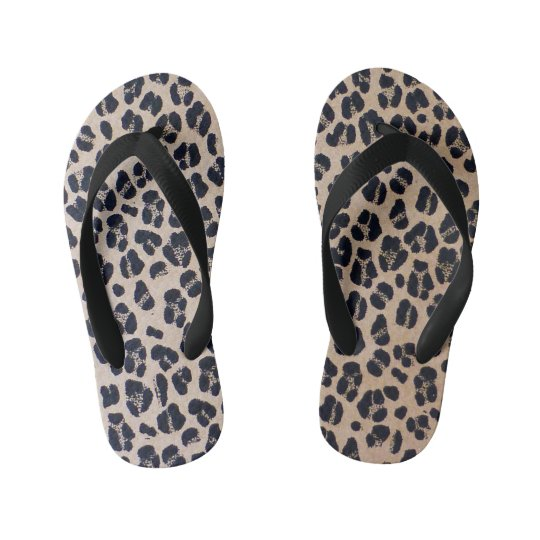 Leopard Print Beach Flip Flops For Kids