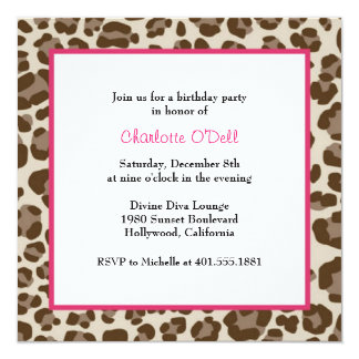 leopard print birthday party card