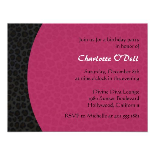leopard print birthday party invitations