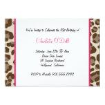 "leopard print birthday party 5"" x 7"" invitation card"