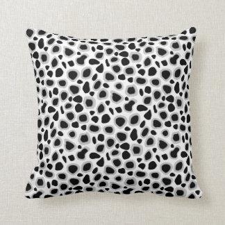 Leopard Print - Black and White Throw Pillows