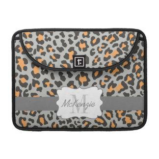 Leopard Print Black Orange Gray MacBook Pro Sleeve
