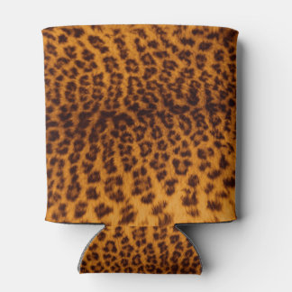Leopard print black spotted Skin Texture Template Can Cooler
