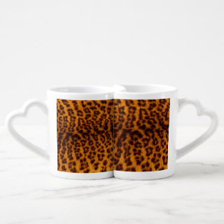 Leopard print black spotted Skin Texture Template Coffee Mug Set