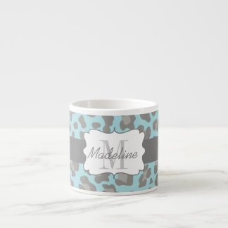 Leopard Print Blue and Grey Espresso Mug