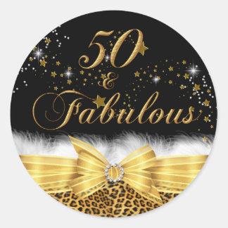 Leopard Print Bow 50 Fabulous Birthday Sticker