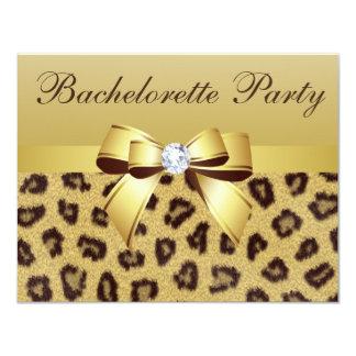 "Leopard Print, Bow & Diamond  Bachelorette Party 4.25"" X 5.5"" Invitation Card"