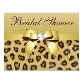 "Leopard Print, Bow & Diamond  Bridal Shower 4.25"" X 5.5"" Invitation Card"