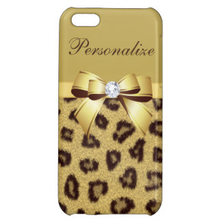 Leopard Print, Bow & Diamond Personalized iPhone 5C Cases