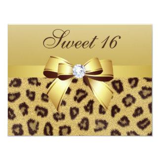 """Leopard Print, Bow & Diamond Sweet 16 4.25"""" X 5.5"""" Invitation Card"""