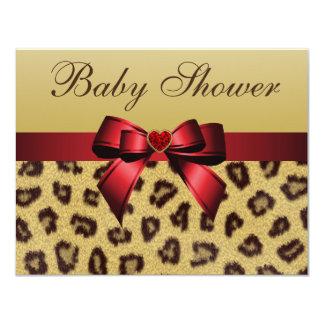 "Leopard Print, Bow & Heart Baby Shower 4.25"" X 5.5"" Invitation Card"
