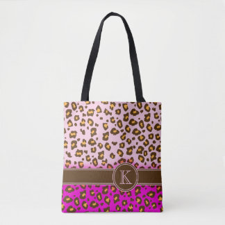 Leopard print brown pink monogram animal print bag
