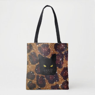 Leopard Print Canvas Tote with Black Cat