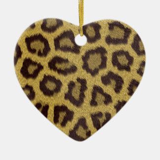 Leopard Print Ceramic Heart Ornament