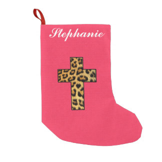 Leopard Print Cross on Neon Coral Pink Small Christmas Stocking