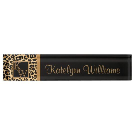 Leopard Print Custom Monogram Desk Name Plate