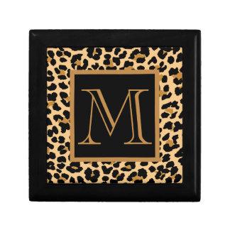 Leopard Print Custom Monogram Keepsake Gift Box