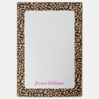 Leopard Print Custom Monogram Post-it® Notes