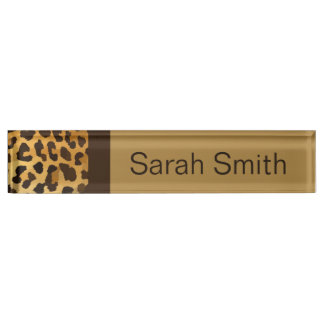 Leopard Print Desk Name Plate brown gold