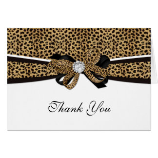 Leopard Print Diamond Gem Rhinestone Thank You Card