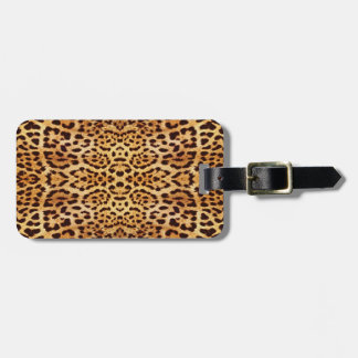Leopard print elegant fur luggage tag