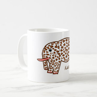 Leopard print Elephant Mug with name