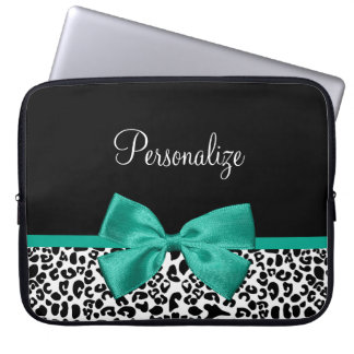 Leopard Print Emerald Green Ribbon Bow Chic Name Laptop Sleeve