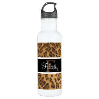 Leopard Print F monogram initials Water Bottle