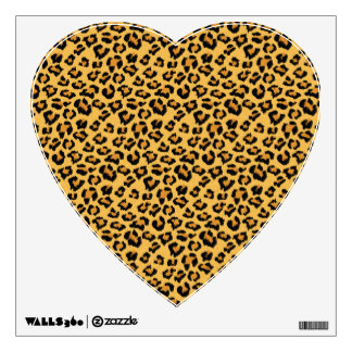 Leopard Print Faux Fur Heart Wall Decal