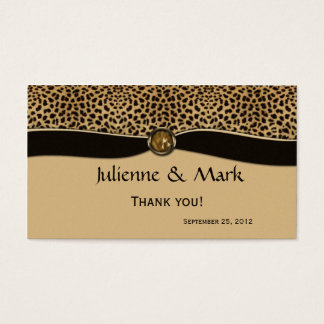 Leopard Print FAUX Ribbon Jewel Wedding Favor Business Card