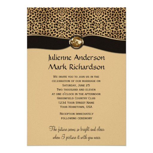 Leopard Print FAUX Ribbon Jewel Wedding Invitation