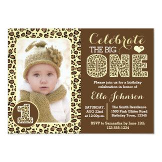 Leopard Print First Birthday Party Invitation