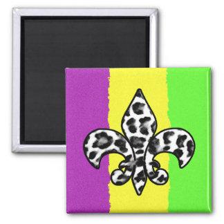 Leopard Print Fleur De Lis Square Magnet