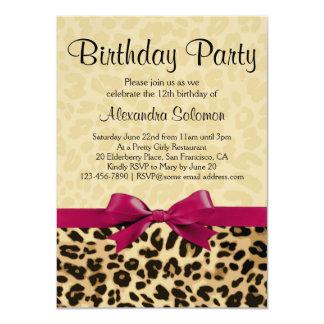 "Leopard Print Fuchsia Pink Bow Girl Birthday Party 4.5"" X 6.25"" Invitation Card"