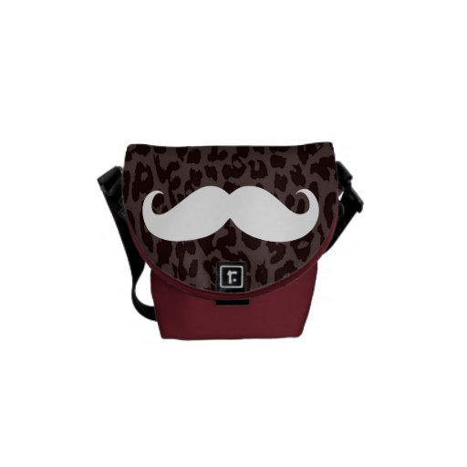 Leopard Print Fur   White Mustache Courier Bags