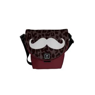 Leopard Print Fur | White Mustache Messenger Bag