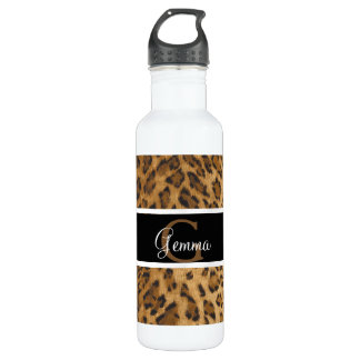 Leopard Print G monogram initials Water Bottle