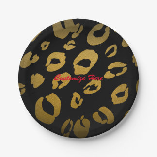 Leopard Print Gold & Black Chic Glam Party Plates