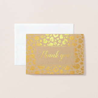 Leopard Print Gold Foil Thank You Foil Card